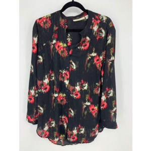 Sejour 14w 14 black red floral button blouse sheer